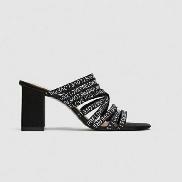16bc1ab0f287 Zara strappy slogan sandal block heels. M 5b9bf1f76a0bb77e0524eda1